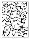Cubist faces fun coloring page Royalty Free Stock Images