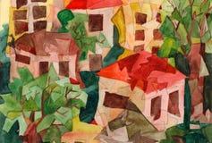 Cubist-Häuser Stockfotos