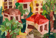 Cubist Houses. Watercolor painting in cubist style, representing stylized houses Stock Illustration