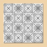 Cubist ornamental seamless tile in black and white, square decorative element composed of polygonal shapes Stock Images