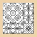 Cubist ornamental seamless tile in black and white, square decorative element composed of polygonal shapes Royalty Free Stock Photography