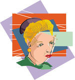 Cubist Woman. Vector art drawing for a cubist woman face stock illustration