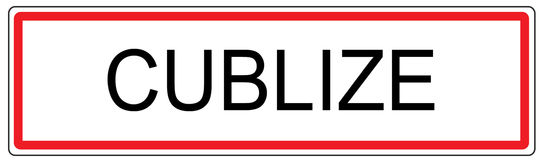 Cublize city traffic sign illustration in France Stock Images