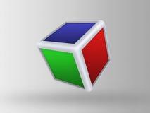 cubo 3d no fundo cinzento Imagens de Stock Royalty Free