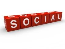 cubo 3d social vermelho Imagem de Stock Royalty Free