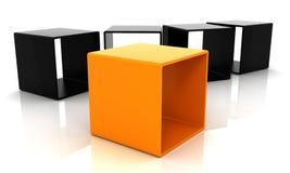 Cubo alaranjado e preto 3D ilustração stock