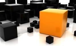 Cubo alaranjado e preto 3D ilustração do vetor