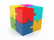 Cubo astratto dal puzzle su priorità bassa bianca Fotografia Stock Libera da Diritti