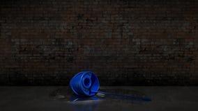 Cubo azul con la fregona de la limpieza Fotografía de archivo libre de regalías