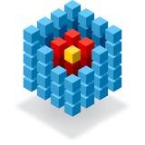 Cubo azul dividido en segmentos infographic Imagen de archivo