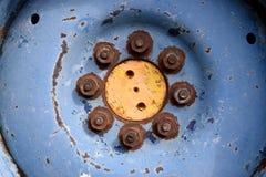 Cubo azul e amarelo Foto de Stock Royalty Free