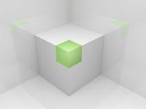 Cubo bianco 3D Fotografie Stock
