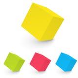 cubo bianco astratto 3D isolato su bianco Fotografia Stock Libera da Diritti