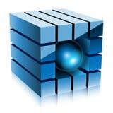 Cubo blu Immagini Stock Libere da Diritti