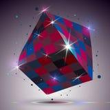 Cubo brilhante torcido dimensional com efeito das luzes 3d d colorido Fotos de Stock