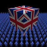 Cubo britânico da bandeira com povos ilustração stock