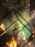 Cubo bruciante Fotografia Stock