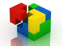 Cubo coloreado del rompecabezas Foto de archivo libre de regalías