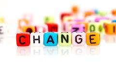 Cubo colorido da palavra da mudança Imagem de Stock Royalty Free