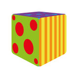 Cubo colorido dos desenhos animados isolado no fundo branco Ilustração Royalty Free