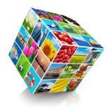 Cubo com coleção da foto Foto de Stock
