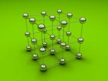 Cubo com esferas do cromo Fotografia de Stock
