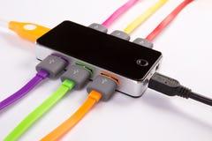Cubo com fios conectados da cor foto de stock