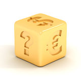 Cubo com sinais de moeda. Fotos de Stock