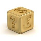 Cubo com sinais de moeda. Fotos de Stock Royalty Free