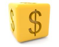 Cubo com sinal de dólar Fotos de Stock Royalty Free