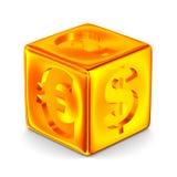 Cubo con i segni di valuta Immagine Stock