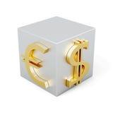 Cubo con l'immagine dell'euro e del dollaro rappresentazione 3d illustrazione di stock