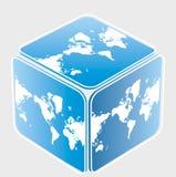 Cubo con la correspondencia de mundo Imagen de archivo libre de regalías