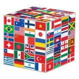 Cubo con las banderas del mundo Imágenes de archivo libres de regalías
