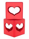 Cubo con los corazones Imagenes de archivo