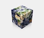Cubo cubico della terra del globo del pianeta Fotografia Stock