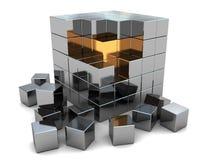 Cubo d'acciaio astratto Fotografia Stock Libera da Diritti