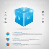 Cubo 3D brilhante abstrato e ícones cinzentos - infographi ilustração stock