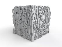 cubo 3d com alfabetos ilustração stock