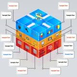 cubo 3d con le icone per i concetti di affari Immagine Stock