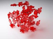 Cubo d'esplosione di puzzle Fotografia Stock Libera da Diritti