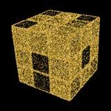 cubo 3D Illustrazione di vettore per la vostra acqua dolce di design Coriandoli dell'oro concentrati Fotografie Stock