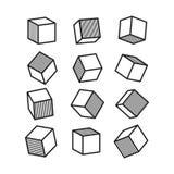 cubo 3D nello stile di Pop art in bianco e nero, vettore Fotografia Stock Libera da Diritti
