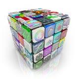 Cubo de Apps de los azulejos programa para de aplicaciones Foto de archivo libre de regalías