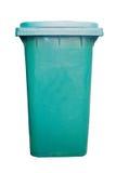 Cubo de basura verde Fotos de archivo libres de regalías