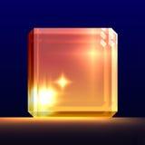 Cubo de cristal que brilla intensamente. ilustración del vector
