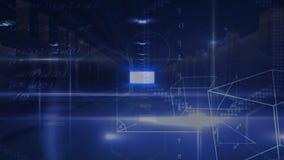 Cubo de Digitas e símbolo da matemática que flutua em um corredor escuro ilustração stock