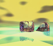 Cubo de gelo - Crystal Stone - pedra de vidro Fotografia de Stock