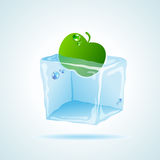 Cubo de gelo da cereja Fotografia de Stock