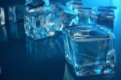 cubo de gelo da rendição 3D no fundo azul do matiz Cubo congelado da água Imagens de Stock Royalty Free